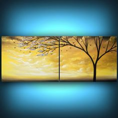 yellow tree painting bird painting metallic gold by mattsart, $275.00