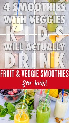 Fruit and veggie smoothies for kids, that have been tried and tested by my kids, healthy and easy, perfect for picky eaters Healthy Smoothies For Kids, Toddler Smoothies, Veggie Smoothies, Smoothie Recipes For Kids, Healthy Toddler Meals, Easy Smoothies, Baby Food Recipes, Healthy Snacks, Smoothies For Toddlers