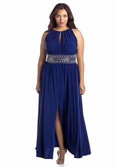 f35350b7d3e2a RM Richards Plus Size Beaded Waist Halter Gown