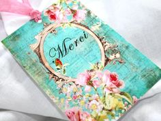 4 Vintage Style Merci Tags Hangers  Journaling  by FlyingUnicorn