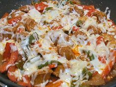 Italian Sausage Pepper Onion Recipe | ITALIAN SAUSAGE WITH ONIONS, PEPPERS, TOMATO SAUCE AND CHEESE - Linda ...