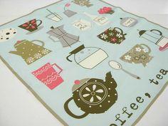 coffee and tea print teal towel