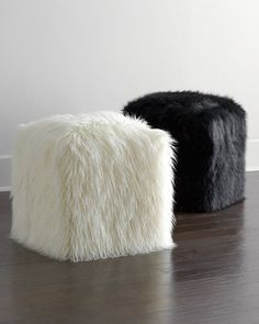 Faux-Fur Pouf - for front room as foot rest.but could be fun.softness really balances out all the leather in the room Pouf Chair, Ottoman Stool, Chair Pads, Ikea Lack Regal, Deco Design, New Room, Living Room Furniture, Bean Bag Chair, Furniture Design