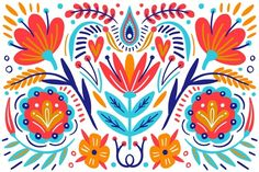Pattern Art, Print Patterns, Vector Pattern, Mexican Pattern, Design Plano, Mexican Flowers, Mexican Embroidery, Scandinavian Folk Art, Mexican Designs
