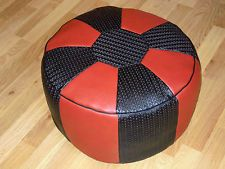 Original 70er 70s Vintage Sitzpouf Sitzpuff Sitzkissen Hocker Pouffe rot schwarz