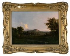 Robert Scott Duncanson Landscape of a Bald Mountain with Cliff  with Sheep in a river in the Foreground - Sold at Brunk Auctions for $35,000
