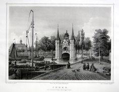 Sneek-Hoogeindster Waterpoort | Herkomst : J.L. Terwen - Het Koningrijk der Nederlanden, afm. 14 x 20 cm Staalgravure 1860