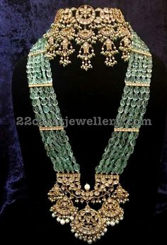 Emerald Kundan Long Set Ear Chains