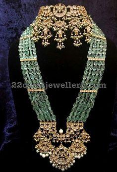 Emerald Kundan Long Set Ear Chains