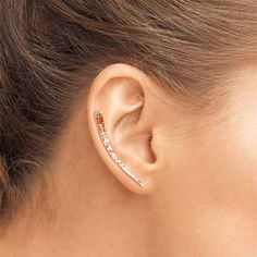 f7f1ab900 Rose Gold Filled Hammered Ear Climber, Rose Gold Ear Crawler, Rose Gold  Filled Ear Sweep, Rose Gold Ear Sweep, Hammered Ear Climber
