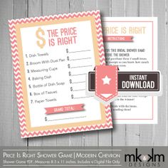 The Price Is Right Bridal Shower Game | Chevron Theme | Bridal Shower Ideas