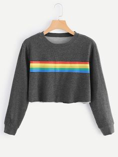 Shop Striped Tape Crop Sweatshirt at ROMWE, discover more fashion styles online. Cute Summer Outfits, Cool Outfits, Casual Outfits, Fashion Outfits, Teenager Outfits, Outfits For Teens, Crop Top Sweater, Cute Crop Tops, Sweaters And Jeans