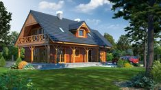 Projekt Świdnica dws7 House Design Pictures, Timber House, Home Fashion, Bali, House Plans, Exterior, Mansions, Architecture, House Styles