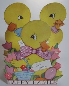 Vintage Easter Card Fold Out Ducks - Picture shows three cards