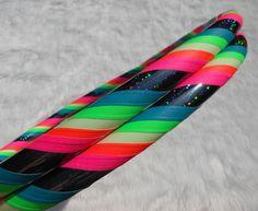 BEST SeLLING Hula Hoop:  'Black Galaxy Rainbow Mantra GLoW' - Glow In The Dark Travel Hoola Hoop - UV Reactive // GLoWS in Blacklight TOO. $34.95, via Etsy.