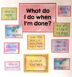 "Early Finisher Task Board . I can add different options of course and add spi's by each one. Check out my ideas for workstations at www.adorndaily.com/blog or just follow my ""Art Ed : Workstation board""! All teachers will find something they could use!"