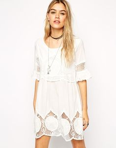 ASOS Reclaimed Vintage Smock Dress With Crochet
