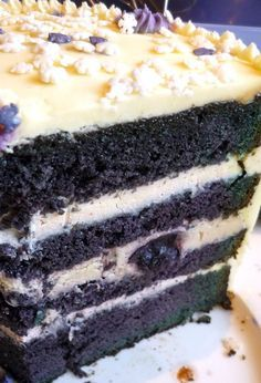 Blueberry Velvet Cake. I can't get over this title. It is so unique i have to try. Plus the cake is wrapped in  white chocolate cheesecake icing. Wow.