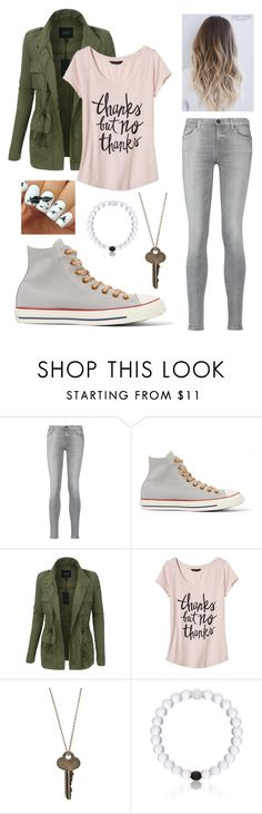 """""""Neutrals"""" by annamason1386 ❤ liked on Polyvore featuring 7 For All Mankind, Converse, LE3NO, Banana Republic, The Giving Keys, Everest and neutrals"""