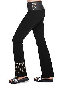 Online Exclusive Bling Foldover Waist Yoga Flare Pant