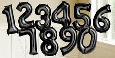 Black Number Balloons - Shiny Black Balloons & Balloon Accessories - Party City