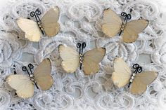 New Item~Reneabouquets Tiny Treasures Butterfly Set-  Oh So Butterlicious Glitter Glass Butterflies Scrapbook Embellishment, Home Decor, , Wedding