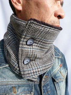 Mens Neckwarmer - Grey/Blue  Prince of Wales Tweed and Fluffy Black Fleece, Mens Scarf, Winter Scarf. $29.50, via Etsy.