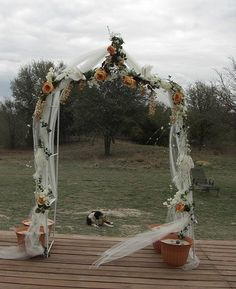 Tulle Decorated Wedding Arch Also Nice With Purple And Green Instead Of Orange
