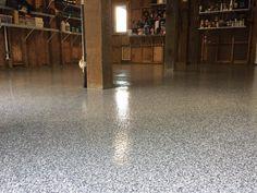 Popular Gravel Blend Epoxy Flake Floor in Wilmington, North Carolina.