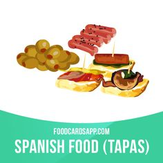 Tapas are a wide variety of appetizers, or snacks, in Spanish cuisine. They may be cold (such as mixed olives and cheese) or hot (such as chopitos, which are battered, fried baby squid).  #tapas #spanishfood #snack #snacks #appetizer #appetizers #food #english #englishlanguage #learnenglish #studyenglish #language #vocabulary #dictionary #englishlearning