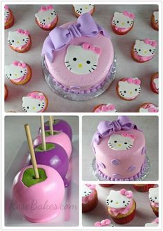 Hello Kitty Cake, Cupcakes & Candy Apples - Rose Bakes.  See details here: http://rosebakes.com/hello-kitty-cake-cupcakes-candy-apples/