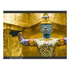 Giant at thai temple postcard - tap, personalize, buy right now! #postcard #giant #thai #temple #royal #bangkok