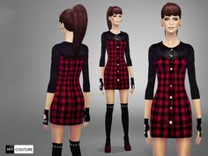 The Sims Resource: Tartan Mini Dress by Miss Fortune Sims • Sims 4 Downloads  Check more at http://sims4downloads.net/the-sims-resource-tartan-mini-dress-by-miss-fortune-sims/