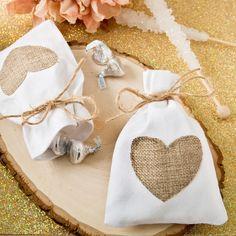 Rustic Shabby Chic White Cotton Favor Bag with Burlap Heart Applique