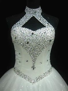 Womens Lace Wedding Dress Luxury Crystal Ball Bridal Gowns. Regular/Plus Sizes.