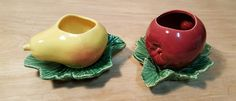 Vintage SET of 2 ~ MCCOY USA POTTERY Fruit on Leaf PLANTER ~ APPLE & PEAR #McCoy #Pottery #Apple #Pear #Fruit #Planter