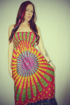 Valentine's Day! Handmade Hot Pink Peacock Hippie Dress Long by Cloud9Jewels, $42.00