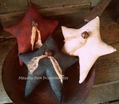 Set of 3 Primitive Americana Stars Bowl Fillers by MeadowForkPrims, $24.00
