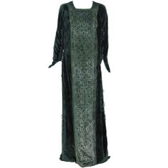 1920's Mariano Fortuny Gold Stenciled Silk-Velvet Tabard Gown