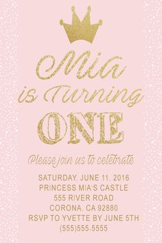 Pink & Glitter Gold Birthday Invitation. Click on the image twice to place orders or follow me on facebook. or email me at the address in BIO.