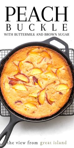 Jeff's Writing - The Easiest Peach Buckle Recipe! - - - My classic Peach Buckle is made with buttermilk, brown sugar, and plenty of juicy ripe peaches, this easy summer dessert comes together in one bowl. Fruit Recipes, Baking Recipes, Sweet Recipes, Cheap Recipes, Simple Recipes, Seafood Recipes, Köstliche Desserts, Delicious Desserts, Yummy Food