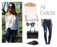"""""""revolve: @EleanorJCalder wearing the @tularosalabel Lisa blouse #revolvefestival"""" by thetrendpear-eleanor ❤ liked on Polyvore featuring Tularosa, Ancient Greek Sandals, Miu Miu, J Brand and Yves Saint Laurent"""
