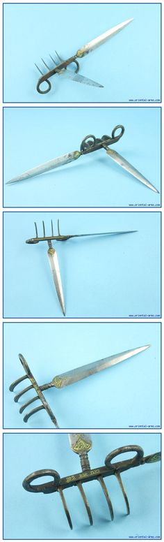 Indian Bagh Nakh (Tiger Claws), 19th century or earlier. It is composed of several small and curved blades on a connecting bar and rings for the fingers. This example has four claw blades and two longer dagger style blades. Blades 5 inches, claws 2 ½ inches. Both the blades and the bar are decorated with gold inlay work and inscriptions. An interesting but cruel weapon, never considered as a legitimate fighting weapon.