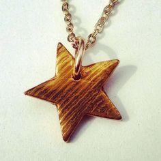 Bronze Wood Grain Star Necklace #BeDelighted