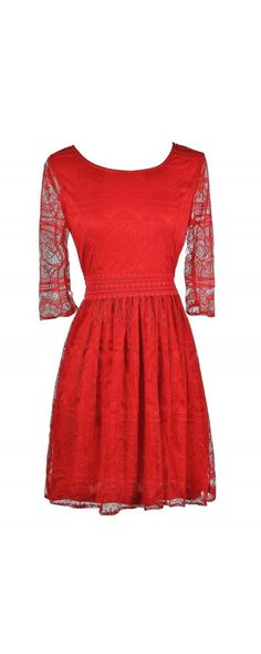 Lady In Red Lace Dress  www.lilyboutique.com