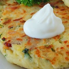 Loaded Mashed Potato Cakes. Great way to repurpose leftover mashed potatoes!