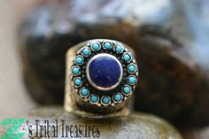 Kuchi Lapis ring,Afghan jewelry,Afghan ring,Afghan silver ring,Turquoise ring,Hippie ring,Gypsy ring,Lapis jewelry,Free shipping by ZsTribalTreasures on Etsy