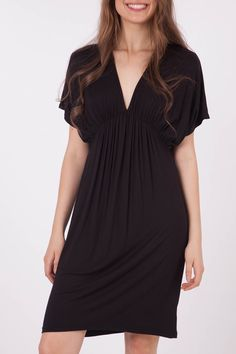 Gathered Bust Loose Tee Dress Great for hiding big arms,  V-neck flatters a bigger bust,  Gathers under bust hides any tummy issues