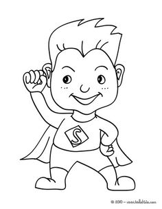 SUPERHERO Kid Costume Coloring Page. Do You Like CARNIVAL Coloring Pages?  You Can Print Out This SUPERHERO Kid Costume Coloring Pagev Or Color It  Online .
