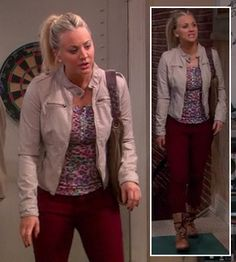 Penny's pink leopard print top with cream jacket and dark red jeans on The Big Bang Theory.  Outfit details: http://wornontv.net/11049/